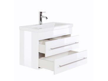 Waschtisch mit Keramikbecken ALISTAIR-02 SlimLine Hochglanz weiß B x H x T ca. 70 x 52 x 36 cm