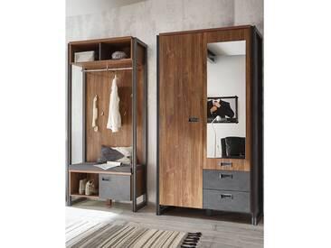 Garderoben-Set im Industrial-Design DALLAS-61 Dielenschrank & Kompaktgarderobe in Stirling Oak Nb. mit Matera Anthrazit B x H x T ca.: 209 x 202 x 45 cm