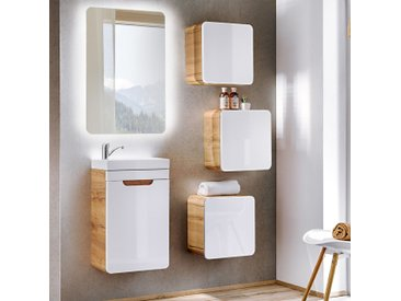 Badmöbel Set Gäste WC LUTON-56 in Hochglanz weiß mit Wotaneiche BxHxT ca. 90x195x22cm