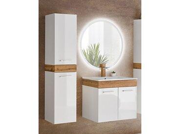 Badmöbel Set mit Keramik Waschtisch LED Spiegel und Hochschrank TUMBA-56 Hochglanz weiß, Wotaneiche, BxHxT ca.: 95 x 200x46 cm