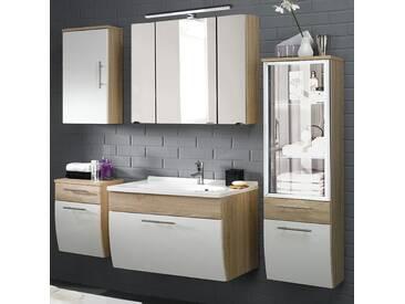 Badmöbel Set TALONA-02 Hochglanz weiß, Sonoma Eiche, 90cm Waschtisch, LED-Spiegelschrank (5-teilig)