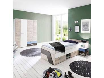 Kinderzimmer Set für Jungen in Sandeiche Nb. mit weiß, Lava 3-teilig LEEDS-10 und Denim Blau