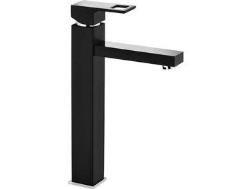 Einloch-Waschbeckenarmatur mit erhöhtem Fuss für Aufsatzbecken Schwarz Silber ANEMON-30 matt inkl. Klick Klack Stöpsel für Waschbecken