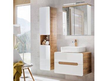 Badezimmermöbel Set mit Keramik-Waschtisch LUTON-56 Hochglanz weiß, Wotaneiche BxHxT ca. 130x200x46cm