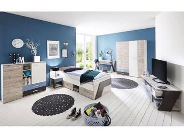 Jugendzimmer Set mit Schreibtisch 6-teilig LEEDS-10 in Sandeiche Nb. mit weiß, Lava und Denim Blau