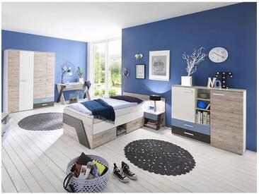 Jugendzimmer Set Mit Schreibtisch 5 Teilig LEEDS 10 In Sandeiche Nb. Mit  Weiß