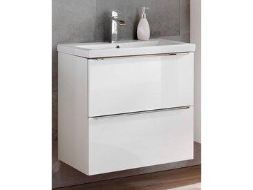 Badezimmermöbel Set mit 60cm Keramik-Waschtisch TOSKANA-56 Hochglanz weiß, BxHxT ca. 60/81/46cm