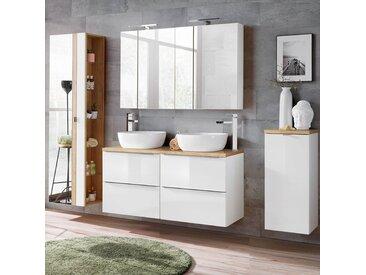 Badmöbel Set Hochglanz weiß & Wotaneiche TOSKANA-56 mit Waschtisch inkl. Keramik-Waschbecken, LED-Spiegelschrank und Wäschesammler,