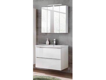 Badezimmermöbel Set mit 80cm Keramik-Waschtisch und LED-Spiegelschrank TOSKANA-56 Hochglanz weiß, BxHxT ca. 80/190/46cm