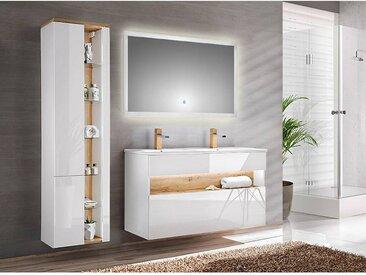 Badezimmer Set mit Doppel-Becken inkl. LED-Spiegel BERMUDA-56 in Weiß-Hochglanz B/H/T: 185/200/45cm