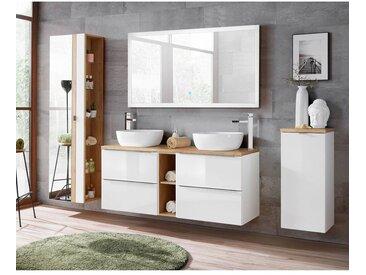 Badmöbel Set mit Doppel-Waschtisch und 140cm LED-Spiegel TOSKANA-56 Hochglanz weiß mit Wotaneiche, BxHxT ca. 260/190/48cm