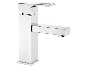 Einloch-Waschtischarmatur Silber ANEMON-30 verchromt mit Ablauf Automatik Garnitur