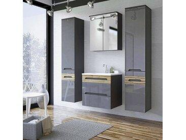 Badezimmermöbel Set mit 60cm Keramik-Waschtisch LAJAS-56, Hochglanz Graphit mit Wotaneiche, B x H x T cm 160 x 200 x 45 cm