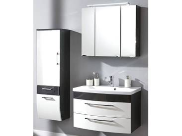 Badmöbel Set RIMAO-02 Hochglanz weiß, anthrazit, 80cm Waschtisch, LED Spiegelschrank (3 teilig)
