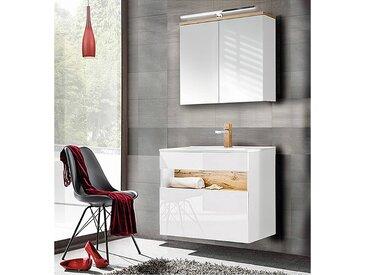 Badezimmer Set mit Keramik-Waschtisch inkl LED in Weiß-Hochglanz mit Wotaneiche BERMUDA-56 B/H/T: 80/200/45cm