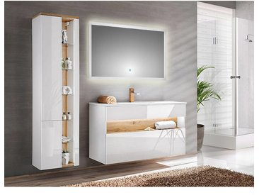 Badezimmer Set mit Keramikbecken inkl. LED-Spiegel BERMUDA-56 in Weiß-Hochglanz B/H/T: 185/200/45cm