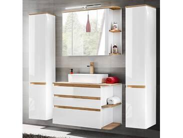 Badezimmermöbel Komplett Set Mit Keramik Waschtisch CAMPOS 56, Hochglanz  Weiß Mit Wotaneiche,