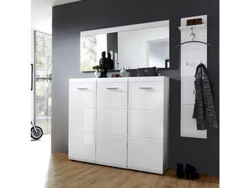 Garderoben Set DANARO-01 Hochglanz weiß (3-teilig), B x H x T ca. 184 x 200 x 37cm
