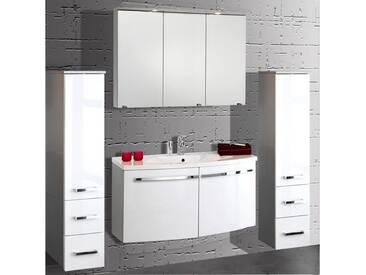 Badmöbel Set SAROS-06 Hochglanz weiß, alufarbig 100cm Waschtisch, Spiegelschrank (4-teilig)