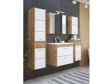 Badezimmermöbel Set inkl.Keramik-Waschtisch, 2-5 teilig, LUGO-56, Wotaneiche Nb. Hochglanz weiß, B x H x T ca.: 135/105/60 x 200 x 46 cm