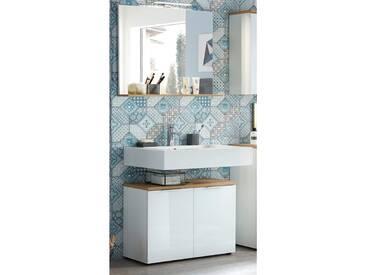 Badmöbel Waschplatz Set mit LED-Spiegel LUBLIN-01 Waschbeckenschrank mit Glasfront weiß, Navarra Eiche
