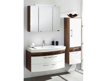 Badmöbel Set RIMAO-100 Hochglanz weiß, Walnuss Nb., Gussbecken, LED Spiegelschrank (3-teilig)