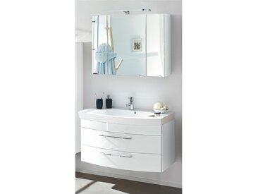 Badmöbel Waschplatz Set RIMAO-100 Hochglanz weiß, LED-Spiegelschrank, 100cm Waschtisch