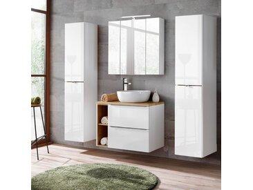 Badezimmermöbel Set mit LED-Spiegelschrank TOSKANA-56 weiß Hochglanz, Wotaneiche BxHxT ca.B/H/T: 190/190/46cm