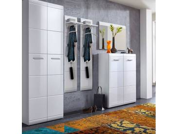 Garderoben Set DANARO-01 Hochglanz weiß (5-teilig), B x H x T ca. 273 x 200 x 37cm