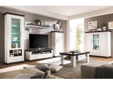 Wohnzimmer Set inkl. Couchtisch und Highboard SALARA-61 in Pinie weiß & Wenge Nb.