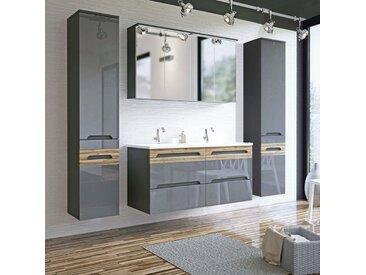 Badezimmer Doppel-Waschplatz Set mit Keramik-Waschtischen LAJAS-56, Hochglanz Graphit mit Wotaneiche, 2 Hochschränke B x H x T ca. 220 x 200 x 45 cm