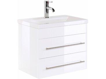 Badmöbel Waschtisch mit Keramik-Waschbecken ALISTAIR-02 Hochglanz weiß B x H x T ca. 60 x 52 x 36 cm