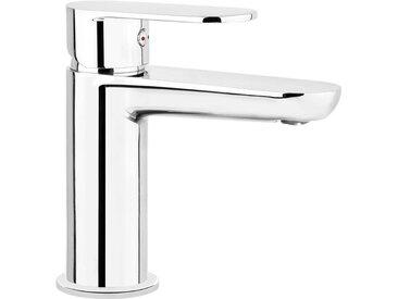Einloch-Waschtischarmatur Silber ALPINIA-30 verchromt mit Ablauf Automatik Garnitur