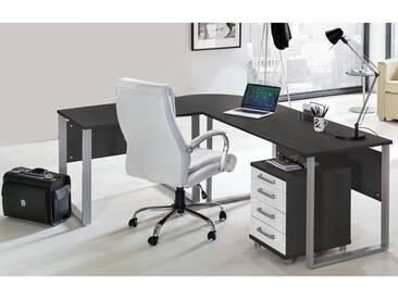 Schreibtisch Set TALLINN-16 anthrazit, Hochglanz weiß, Eckschreibtisch mit Metallkufen & Container
