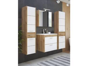 Badezimmer Möbel Set 4-teilig inkl. Keramik-Waschtisch 60 cm LUGO-56, Wotaneiche Nb. Hochglanz weiß, B x H x T ca.: 135 x 200 x 46 cm