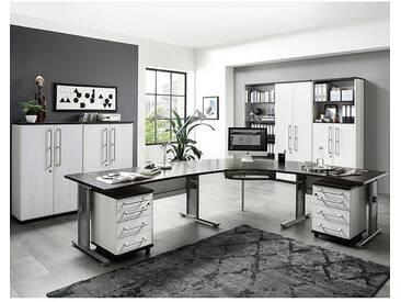 Büromöbel Set PRIFO-01 Lärche Nb., Eiche Havanna Nb., 2 Rollcontainer, höhenverstellbare Schreibtische