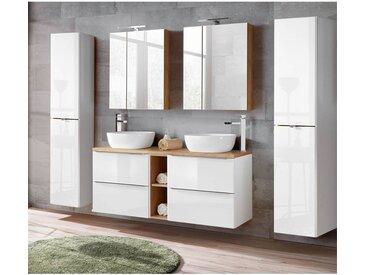 Badmöbel Set mit Doppel-Waschtisch inkl. 2 Keramik-Aufsatzbecken TOSKANA-56 Hochglanz weiß/Wotaneiche BxHxT ca. 250/190/48cm