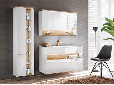 Badezimmer Set mit Keramik-Waschtisch inkl LED BERMUDA-56 in Weiß-Hochglanz mit Wotaneiche B/H/T: 185/200/45cm
