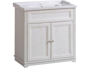 Waschtischunterschrank inkl. 80cm Retro Keramik-Waschtisch im Vintage Landhausstil CELAYA-56, Andersen Pine weiß, B x H x T ca. 80 x 79 x 45cm