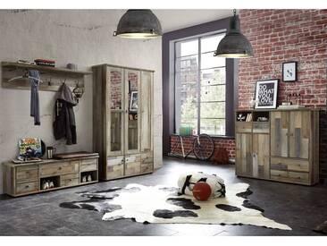 Vintage Komplett Garderoben-Set mit Dielenschrank BRANSON-36 in Driftwood Nb. B x H x T ca.: 399 x 188 x 40 cm