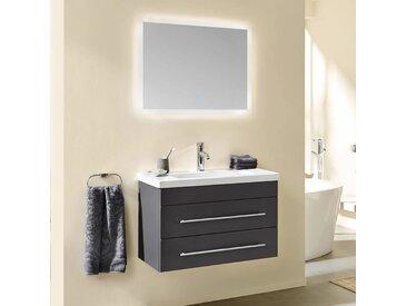 Badmöbelset SALLY-02 80 S Keramik-Waschtisch in Seidenmatt anthrazit mit LED Spiegel