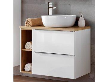 Badezimmer Waschtisch Set mit 60cm Keramik-Aufsatzwaschbecken TOSKANA-56 Hochglanz weiß & Wotaneiche BxHxT ca. 80/94/48cm