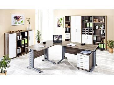Büromöbelset TYP1200 Trüffel Eiche, Glanz weiß, 11-teilig