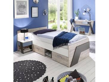 Jugendzimmer Set mit Schreibtisch 3-teilig LEEDS-10 in Sandeiche Nb. mit weiß, Lava und Denim Blau
