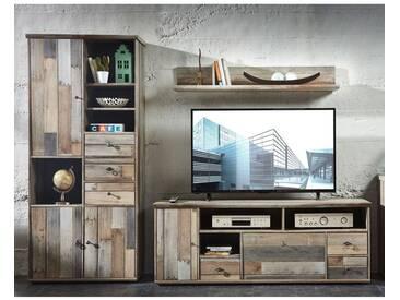 TV-Wohnwand Mediawand Driftwood BRANSON-36 mit Hochschrank Lowboard Wandregal B x H x T ca.: 260 x 188 x 52 cm