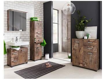 Badmöbel Set LIMA-04 Panamaeiche, 70cm Spiegelschrank, BxHxT: ca. 231,4x200x32cm