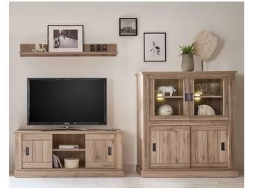 Landhaus Wohnwand mit TV-Lowboard und Highboard ALICANTE-61 in San Remo Nb. B x H x T: 289 x 160 x 50 cm
