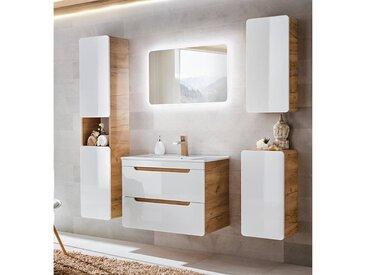 Badezimmer Möbel Set 5-teilig Hochglanz weiß inkl. 80 cm Keramikwaschtisch LUTON-56, B x H x T ca.: 180 x 200 x 46 cm