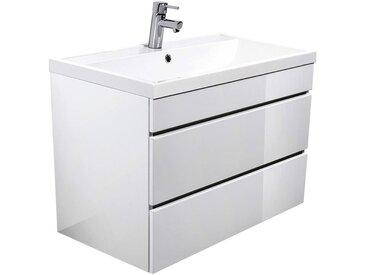 Waschtisch mit Unterschrank Hochglanz weiß KASSANDRA-02 mit 80cm Waschbecken B x T x H ca. 80,4 x 58,4 x 45 cm