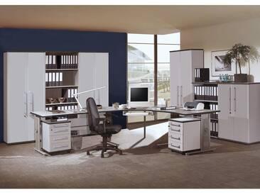 Büromöbel Set PRIFO-01 lichtgrau, 2 Rollcontainer, 4 Aktenschränke